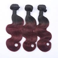 El cabello brasileño superventas de Remy de la Virgen del color de dos tonos de la armadura # 1B / # 99j del pelo de Ombre del pelo de la Virgen vende al cuerpo ondulado 3Pcs /