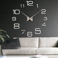 Wholesale Mirror Stickers Wall Clock d Acrylic background wall mute clocks Home Living Room Modern Diy Wall Stickers Modern Design DIY Digital