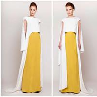 art deco color - Fashion Mixed Color Evening Dresses With Wrap Bateau Neck Applique Cap Sleeve Floor Length Prom Dress Custom Made Azzi Osta Party Dresses