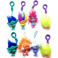 Wholesale 8 Style Trolls Poppy Branch Action Figure keychains toys Children cartoon Poppy Biggie PVC mini figures pendant toys cm Dolls b1058