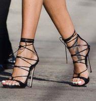 Wholesale 2017 Hot Fashion Black Gold Embossed Leather Strappy Gladiator Sandals For Women Sexy Party Shoes Open Toes Lace Up High Heels Sandalias