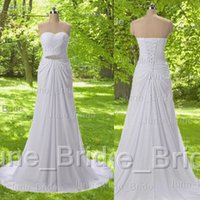 Wholesale In Stock Vintage Simple Beach Chiffon Wedding Dress Sleeveless Sweetheart Pleated Elegant Sweep Train Bridal Dresses Gowns Cheap Under