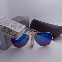 Wholesale High quality Brand Designer Fashion Mirror Men Women Polit Sunglasses UV400 Vintage Sport Sun glasses With box and cases