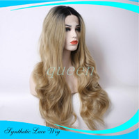 Wholesale Premium blonde ombre wig dark root long natural body wave wigs Brazilian Hair synthetic lace front wig heat resistant for women