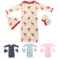 Wholesale Sleep Sack For Baby Boy - Christmas Elk Baby Swaddle Sleeping Bags Sack Hat Cap Gloves Pajamas Kids Clothing Winter Clothes Set for Boys Girls New Cute