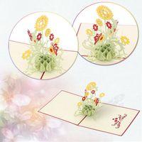 art design cards - Fashion Design D Sunflower Pop up Card Birthday child Greeting Handmade Paper Art Carving High quality KT0124