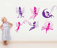 Wholesale 50 cm Lovely Flower Fairy Girls Wall Stickers DIY Art Decal Removeable Wallpaper Mural Sticker for Bedroom Living Room JM8259
