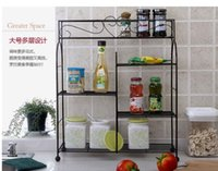 bathroom articles - European pastoral wrought iron shelf in the kitchen Caster multilayer shelf Receive bathroom articles for use