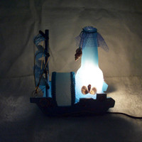 ac boutique - Sailboat wooden desk lamp Creative boutique table lamps home indoor lighting wedding festival arts and crafts