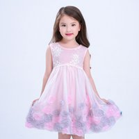 Wholesale 2017 new children s clothing girls dress fashion European and American style three dimensional petals princess dress