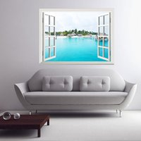 beautiful beach scenery - Sanya Beach Is Beautiful Scenery Window View Color d Wall Removable Sticker Wall Mural Bedroom Living Room Vinyl Decal Diy Decor