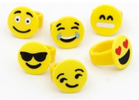 Wholesale Emoji Smile Face Rings Soft PVC Toys Yellow Fashion Finger Toys Children Kids Gifts for Promotion