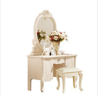 Wholesale factory price RoyalEuropean mirror table modern bedroom dresser French furniture white french dressing table pfy10049