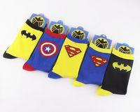 Wholesale 100pcs pairs Cartoon Superhero Socks Batman Captain America Superman socks Adult socks cartoon Boys socks Cartoon sports MC0470