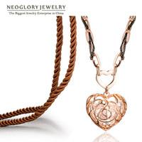 achat en gros de chaîne de corde creuse-Crystal Rose Gold Plated Hollow Heart Love Design Rope Chain Neoglory Colliers Pendentif pour Femmes 2017 New Fashion Jewelry Love