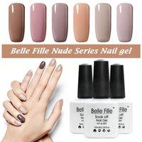 belle nail art - Color BELLE FILLE Nude Color Series UV Gel Base Top Coat UV Lamp Nail Art Design Gel Lak Soak Off Nail Varnish Manicure
