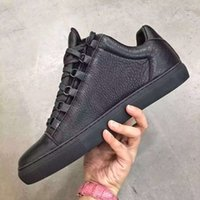 Wholesale Top Quality Brand Arena Low Top Sneaker Shoes White Genuine Leather Matte Bottom Kanye West Casual Dress Wedding Party Walking Flats