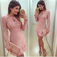 Wholesale 2017 Blush Pink Lace Cocktail Dresses High Neck Sheath Short Mini Long Sleeves Party Dresses With Crystals Sexy Prom Dresses Evening Gowns