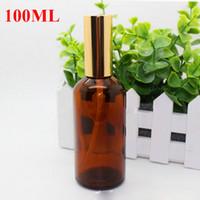 Wholesale 2017 Hot Sale ml ml ml Amber Glass Spray Bottles Essential Oils Glass Bottle With Black gold Cap For E Liquid Spray