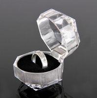 Wholesale High quality Acrylic Crystal clear Ring Box Wedding Ring Box Ring Holder Earrings Box Velvet Jewel Case Wedding Favors