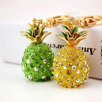 Cristal de piña de frutas tropicales llavero de bolsa de bolso de la hebilla de colgante para los llaveros de coches de alta calidad regalo llavero titular de las cadenas K231