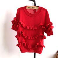 Wholesale Versatile Falbala Jumper Weave Ruffles Sweater Women Short Sleeve Knitted Tee Shirt for all seasons