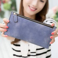Wholesale Long Wallet Purse Female Korean Large Zipper Wallet Retro Frosted Hand Bag Student