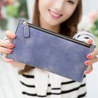 Wholesale Long Wallet Purse Female Korean Large Zipper Wallet Retro Frosted Hand Bag Student