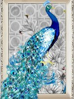 achat en gros de peinture de paon encadrée-5D Bricolage Diamant Broderie Sans Cadre Peinture Peacock Photo Diamant Mosaïque Cadeau De Noël Diamant Image Décoration A2335