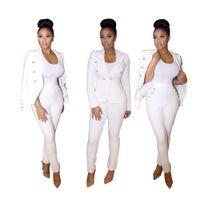 Cheap 2016 spring autumn Women's Two Piece Sets women white pants suit women single button office suit womens business suits office ladies suits