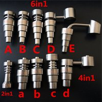 Wholesale Domeless Titanium Nail in1 in1 in1 jiont10 mm Male Female Highly educated Adjustable with honey bucket for glass pipe quartz enail