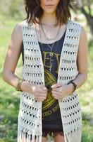 Wholesale Black Long Fringe Crochet Vest Hippie Festival Top Beach Bikini Cover Up Women Bohemian Clothing