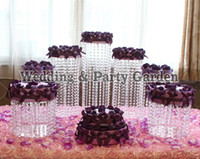 Wholesale set Wedding Centerpiece Cupcake Stands Birthday Display cake Rack Round Crystal Cake Stand table centerpiece decoration