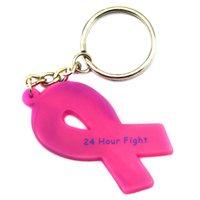 Vente en gros 50PCS / Lot Cancer Awareness Keychain, 24 heures de lutte contre le cancer Ribbon Silicon Key Ring