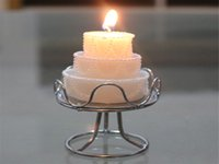 Wholesale Wedding Cake Shape Candles g Romantic Dinner White Candles with Alloy Holder Burning hours Wedding Home Party Decoration