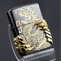 Wholesale Metal cigarette kerosene windproof lighters Black ice gold gilded dragons
