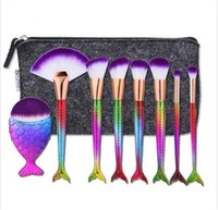 Wholesale 8pcs set Mermaid Tail Makeup Brushes Big Fish Tail Foundation Powder Eyeshadow Make up Brushes Contour Blending Cosmetic Brushs DHL Free B01