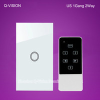 Wholesale US Gang Way Wireless Remote Touch Wall Light Switch Smart Home via Broadlink RM2 RM Pro Geeklink Tempered Glass RF433 White