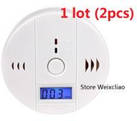 2pcs 1 porción con el uso casero del <b>sensor</b> del humo del gas del envenenamiento del detector de la alarma del monóxido de carbono de las baterías CO fácil instalar el LCD sano Envío libre