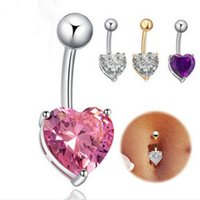 bells heart shape - Europe and the United States Heart shaped Navel Buckle Body Piercing Jewelry Nightclub Belly Dance Navel Ring Drop Shipping