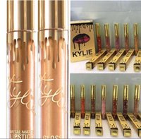 Wholesale Factory Sale Kylie Jenner Limited Birthday Edition Lip Gloss colors gold liquid lipstick packing Cosmetcis Gift
