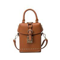 Shoulder Bags Women Plain Fashion Women box shoulder bag Rivet Trunk Messenger bag 2017 new fashion all match pu leather mini handbag 20170314BAGW4