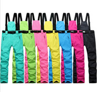 bib trousers - Woman Ski pants Windproof and waterproof winter Mountaineering Cold trousers Skiing BIB Pants nowboard pants fee shipping