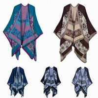 Wholesale Women Floral Scarves Vintage Blanket Scarf Cloak Shawl Fashion European American Style Winter Acrylic Blankets Scarf Cashmere Wrap F365