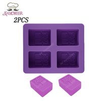 Wholesale 2x Cavities D Handmade Rectangle Square Silicone Soap Mold Chocolate Cookies Mould DIY Cake Decorating Fondant Molds