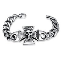 Wholesale Accessories L stainless steel bracelet for man Fashion jewelry Punk Skull Hiphop Decorations hand chain for man