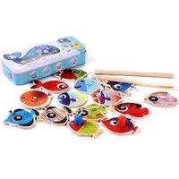Venta al por mayor-14 pescados + 2 cañas de pescar Niños de madera juguetes Pescados Pesca magnética Juego de pesca Juego Caja de estaño Niños de juguete educativo Niña