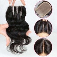 Cierre del cordón de la tapa de la onda del cuerpo 4 * 4 Cierres del pelo humano libre / medio / tres piezas buena calidad Brasileño malayo peruano Indian Hair ExtensionI