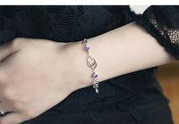 Wholesale Heart Link Copper Bracelet Jewelry Bracelet Exquisite Fashion Korean Fashion Women s Bracelet Heart Heart Pure Natural Amethyst Silver Brace