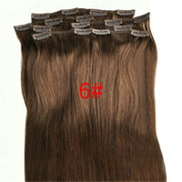 Clip de 100g 18-28inch en el color llano lleno # 6 del pelo humano recto de Remy del pelo 7pcs de las extensiones del pelo